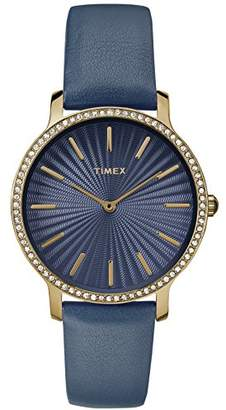 Timex Women's TW2R51000 Metropolitan Starlight 34mm Leather Strap Watch