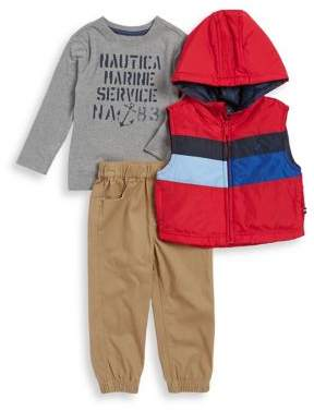 Nautica Little Boy's Three-Piece Marine Service Hooded Vest, Printed Top and Pants Set