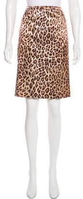 Dolce & Gabbana Satin Animal Print Skirt