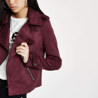 River Island Womens Dark red faux suede cropped trench jacket