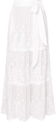 Miguelina Carin Tiered Crocheted Cotton Skirt - White