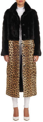 Simonetta Ravizza Mink Fur Short Coat with Detachable Leopard-Print Lamb Skirt
