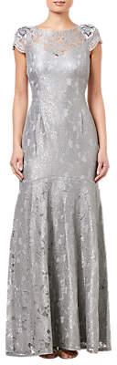 Adrianna Papell Long Metallic Lace Dress, Silver Slate