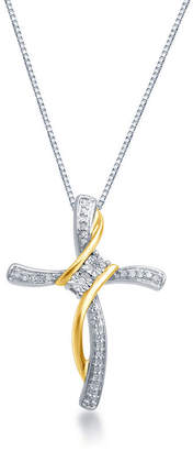 Silver Cross FINE JEWELRY 1/10 CT. T.W. Diamond Sterling Silver With 14K Gold Over Pendant Necklace