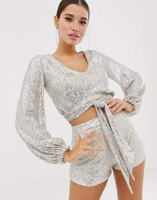 Club L London sequin wrap front top with tie detail two-piece in silver