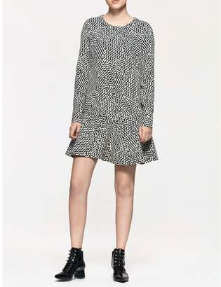 Calvin Klein platinum jacquard zig-zag dress