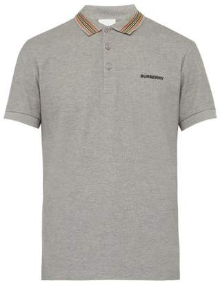 Burberry Icon Striped Collar Cotton Pique Polo Shirt - Mens - Grey
