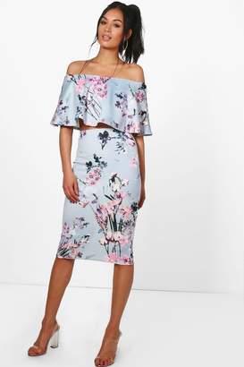 boohoo Jenny Floral Off The Shoulder Crop & Skirt Co-Ord