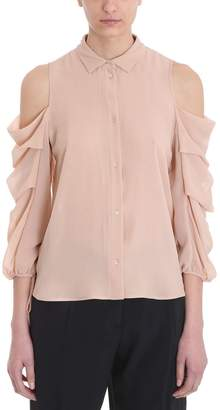 L'Autre Chose Beige Silk Cut Out Shirt