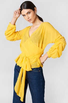 NA-KD Na Kd Tied Waist Gathered Sleeve Blouse