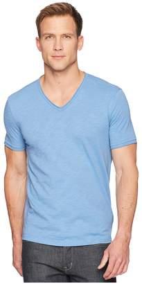 John Varvatos Short Sleeve Slub V-Neck with Cut Raw Edge K3595U1B Men's Clothing