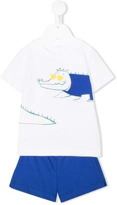 Il Gufo alligator print T-shirt and shorts set