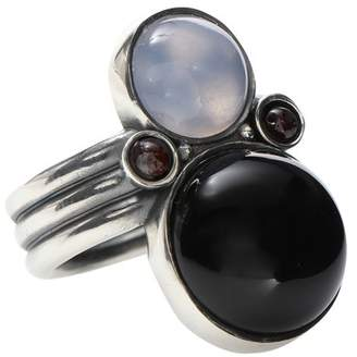 Bottega Veneta Sterling silver ring with chalcedony, garnet and onyx