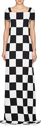 Lisa Perry Women's Checkerboard-Print Crepe Gown