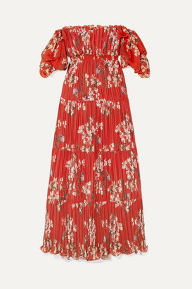 Johanna Ortiz Viajes Del Alma Off-the-shoulder Printed Plissé-georgette Maxi Dress - Burgundy