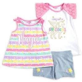 Nannette Little Girl's Three-Piece Unicorn Top, Tank Top and Shorts Set