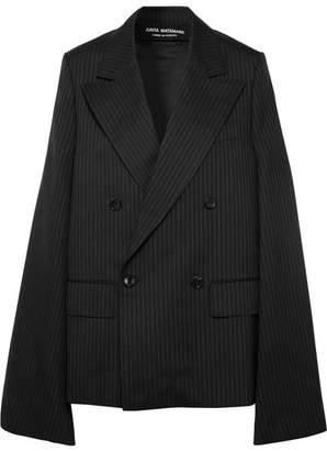 Junya Watanabe Oversized Cape-effect Pinstriped Wool-blend Blazer - Navy