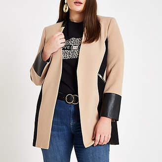 River Island Womens Plus Beige leather trim contrast jacket