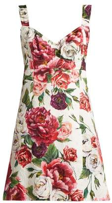 Dolce & Gabbana Peony And Rose Print Brocade Mini Dress - Womens - White Multi