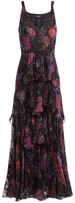 Etro Silk Floral Print Tiered Dress