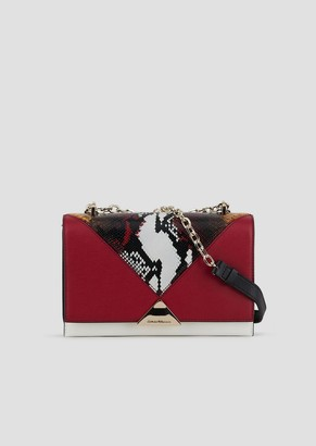 Emporio Armani Shoulder Bag In Leather With Python Print Detail