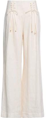 Zimmermann Lace-up Linen Wide-leg Pants