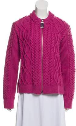 Marc Jacobs Wool Cable Knit Cardigan Magenta Wool Cable Knit Cardigan