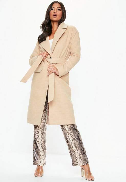 Cream Longline Belted Coat, Camel