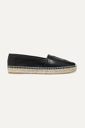 Saint Laurent Logo-embossed Textured-leather Espadrilles - Black