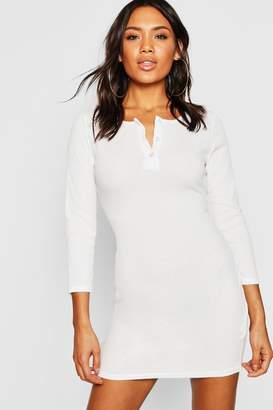 boohoo Rib Knit Long Sleeve Button Up Mini Dress