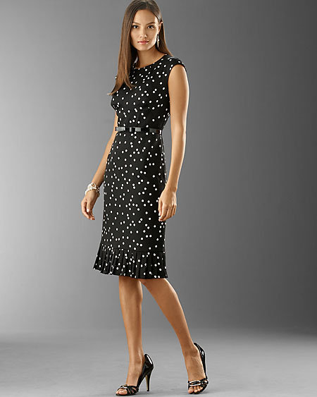 Silk Blend Polka Dot Dress