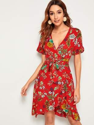 Shein Floral Print Ruffle Tie Front Wrap Dress