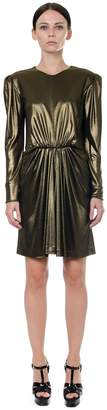 Saint Laurent Gathered Waist Lurex Mini Dress In Gold Metallic Jersey