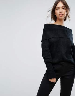 Vila Off The Shoulder Ribbed Sweater