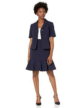 Le Suit Women's Petite 3 Button Notch Collar Short Sleeve Crepe Flounce Skirt Suit