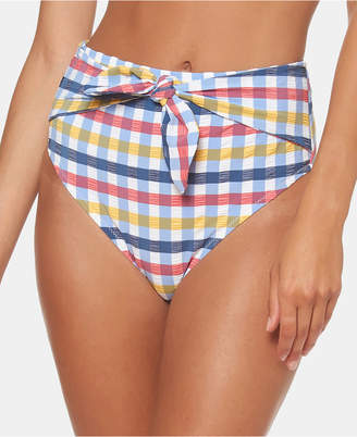 Jessica Simpson Texture Printed Tie High-Waist Bikini Bottoms Women Swimsuit