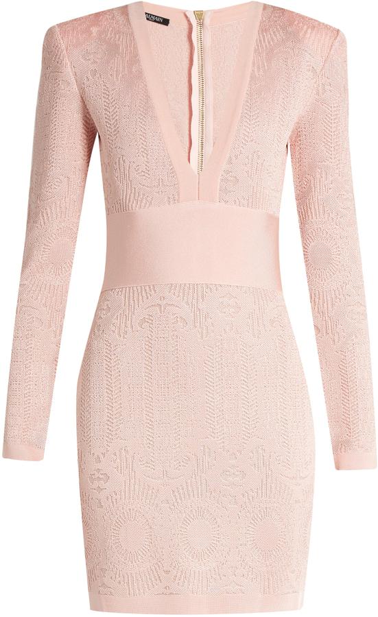 BalmainBALMAIN V-neck lace-knit dress