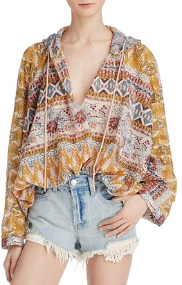 Free People Hold On Tight Gauze Hooded Top $98 thestylecure.com