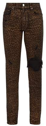 Amiri Foiled Leopard Print Slim Leg Jeans - Mens - Multi