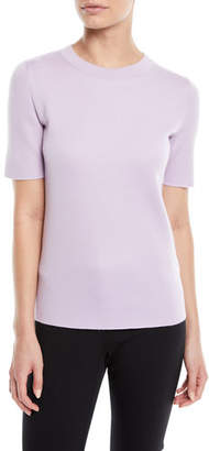 Escada Crewneck Short-Sleeve Sponge-Cashmere Top