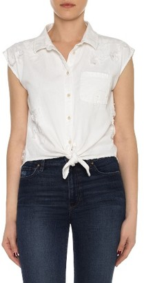 Women's Joe's Vivian Distressed Cotton Tie Front Top $148 thestylecure.com
