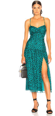 Mason by Michelle Mason Strappy Midi Dress in Teal Leopard | FWRD