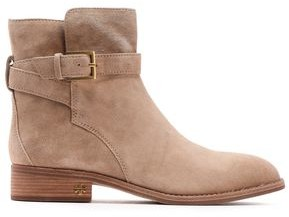 Tory Burch Buckled Suede Ankle Boots