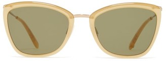 Garrett Leight Louella Cat Eye Actate Sunglasses - Womens - Green Multi