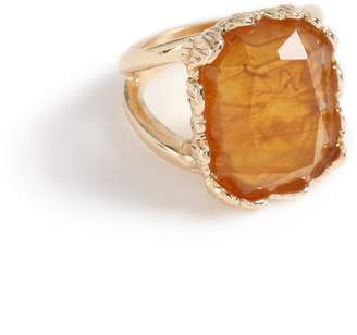 Topshop Womens **Gold With Brown Stone Ring - Brown