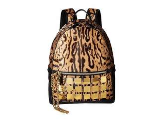MCM Stark Brass Plate Leopard Backpack Medium