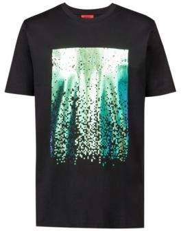 HUGO Boss Crew-neck T-shirt in cotton abstract print M Black