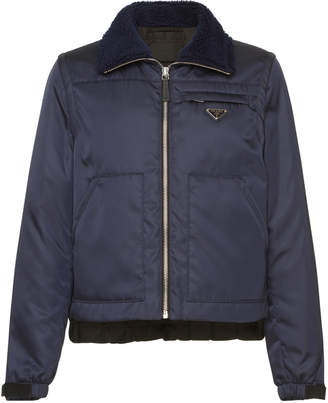 Prada Nylon Bomber With Faux Shearling Collar