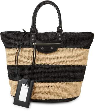 Balenciaga Weaved Straw Top Handle Bag