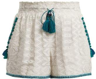Talitha Collection Zigzag Embroidered Cotton And Silk Blend Shorts - Womens - Green White